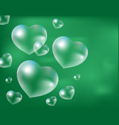 realistic soap bubbles heart-shaped drops of vector image
