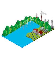 Wind turbines in the lake vector