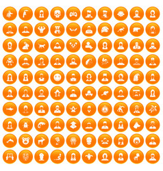 100 avatar icons set orange vector