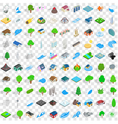 100 landscape icons set isometric 3d style vector image