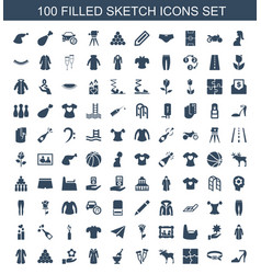 100 sketch icons vector