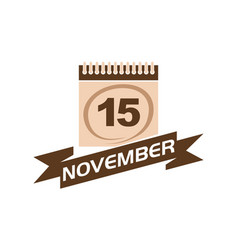 15 november calendar with ribbon vector