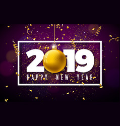 2019 happy new year with typography vector image