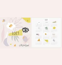 2021 calendar modern abstract shape art template vector