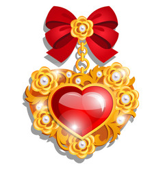 a beautiful medal in shape a red heart vector image