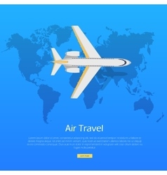 Air travel concept plane on world map web banner vector