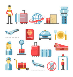 Airport procedures and services flight man baggage vector