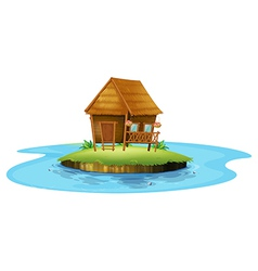 An island with a small nipa hut vector image