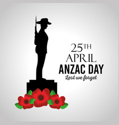 Anzac day lest we forget card memory celebration vector