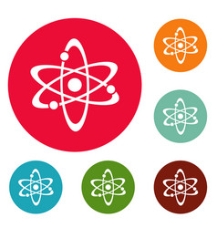 atom icons circle set vector image