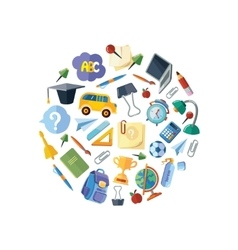 back to school icons set in circle shape vector image