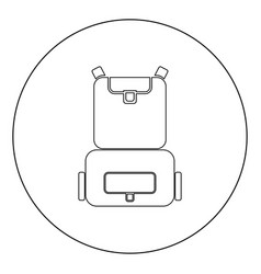 backpack icon black color in circle or round vector image