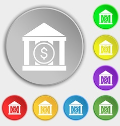 Bank icon sign Symbol on eight flat buttons vector
