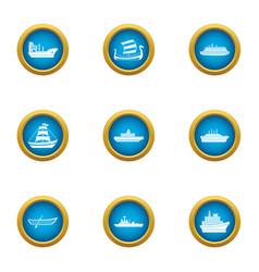 Battleship icons set flat style vector