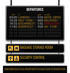 Black airport board realistic composition vector