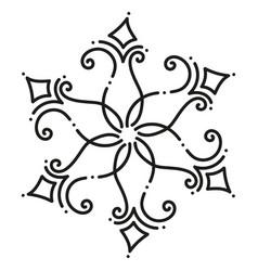 black and white round symmetrical hexagonal tile vector image