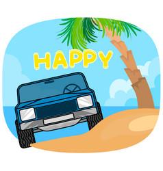 Blue car vehicle on beach vector