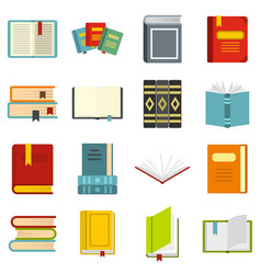 Books set flat icons vector