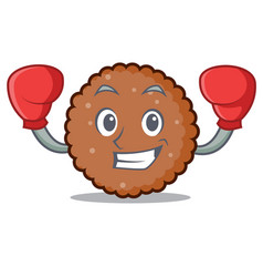 Boxing chocolate biscuit character cartoon vector