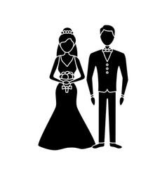 Bride and bridegroom glyph icon vector