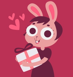 Bunny Girl in Love Holding a Present vector image