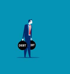 Businessman holding debt concept business risk vector