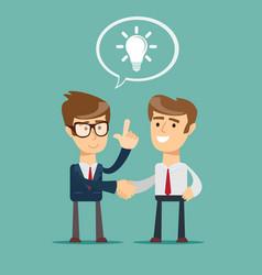Cartoon big idea character shaking hand with a man vector