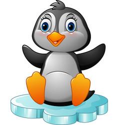 cartoon funny penguin sitting on ice vector image