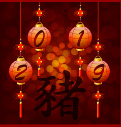 Chinese new year lantern with hieroglyph pig vector