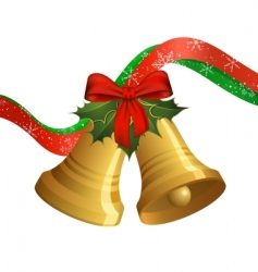 Christmas bells with holly vector