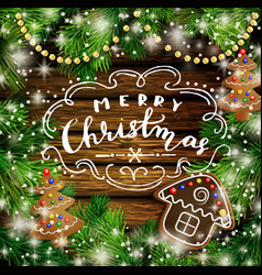 christmas design with gingerbread cookies vector image