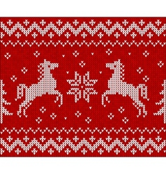 Christmas knit in Norway style with horses vector