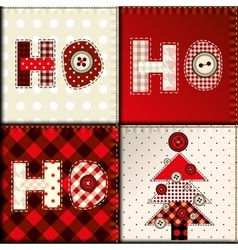 Christmas patchwork pattern vector image