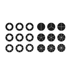 Circle chart section segments set vector
