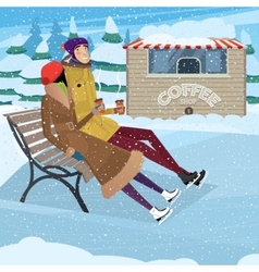 Coffee break on ice skating rink vector