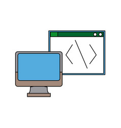 Computer monitor programming design graphic vector