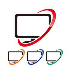 Computer network symbol logo design template vector