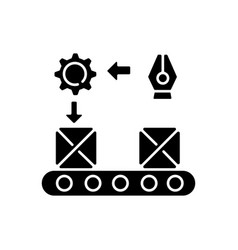 Continuous flow black glyph icon vector