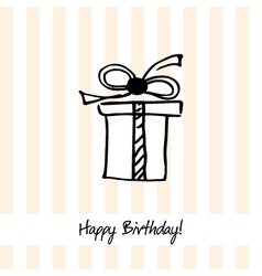 Cute happy birthday card with present box vector image