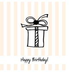 Cute happy birthday card with present box vector