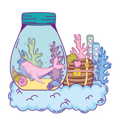 cute narval in mason jar and treasure chest vector image