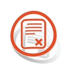 Declined document sign sticker orange vector