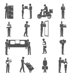 Delivery Man Icons Set vector image