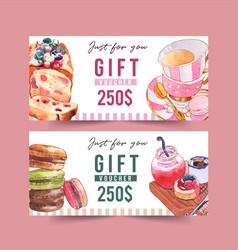 Dessert voucher design with bread and macarons vector