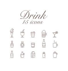 drink 15 icons set design vector image