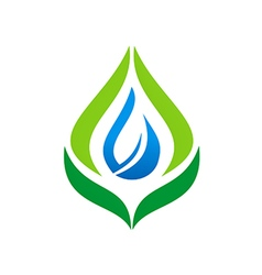 Eco leaf bio organic water drop logo vector
