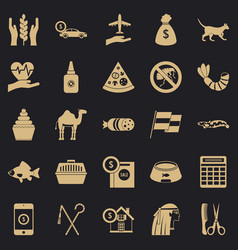 egypt icons set simple style vector image
