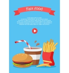 Fast Food Conceptual Flat Style Web Banner vector image