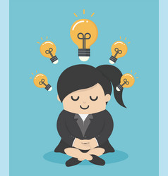female businessmen who are meditating with vector image