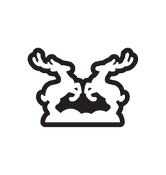 Flat icon in black and white deer vector